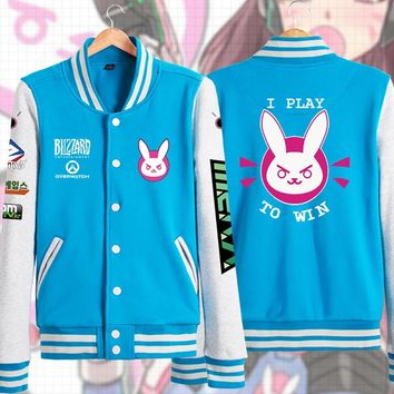Overwatch Dva I Play To Win Varsity Letterman Jacket w/ Sponsors