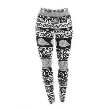 "Pom Graphic Design ""Tribal Evolution"" Yoga Leggings"