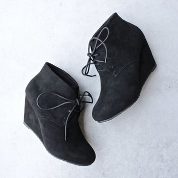 black suede ankle booties