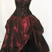 Corset Gown Red and Black Bustle Gown Steampunk Masquerade Gown