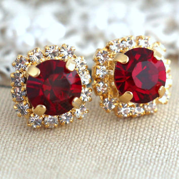 Ruby Red earrings, White Ruby Red Swarovski Studs earrings, Crystal earrings, Bridesmaids jewelry, Wedding jewelry, Gift for her, Ruby studs