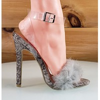 So Me Posh Fur Toe Clear Wrap Strap Marabou High Heel Shoes Snake