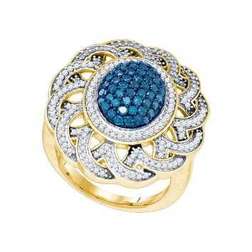 10kt Yellow Gold Womens Round Blue Colored Diamond Cluster Antique-style Ring 1.00 Cttw