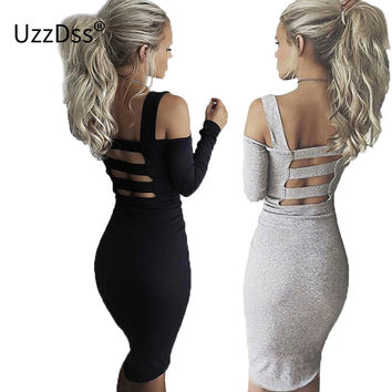 2017 New Backless Off Shoulder Autumn Dress Sexy Club Bandage Dress Midi Women Dress Black Bodycon Summer Party Dress Vestidos