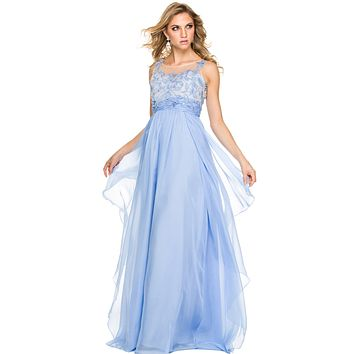 Long Layered Chiffon Prom Gown Periwinkle Illusion Neck Embroidery