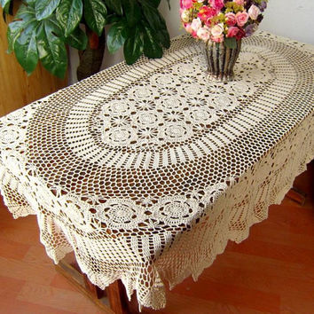 OVAL Handmade  Crochet  Tablecloth