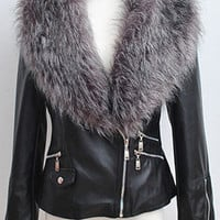 Silver Fluffy-neck Zippers Biker Jacket