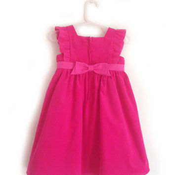 Baby Girl 1st Birthday Dress, Girl's Pink Corduroy Party Dress, Baby Boutique Dress, Baby Corduroy Dress, 0-3 months to 18-24 months