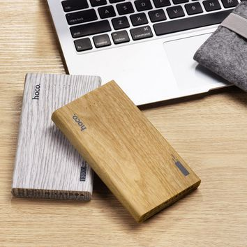 HOCO 13000mAh Ultra-thin Power Bank Mobile Powerbank Universal Charger for Cellphone wood print power Bank for Smart Phone