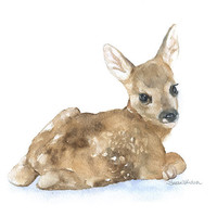 Watercolor Painting Deer Fawn Laying Down Giclee Print 8 x 10 Nursery Art