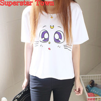Japanese Kawaii Clothes Anime Cartoon Sailor Moon LUNA Cat Eyes T-Shirt Harajuku Shirt Cute White Peplum Tops Tee Blusa Roupas