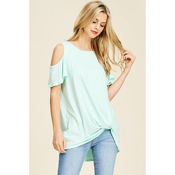 The Bethany Cold Shoulder Top - Mint