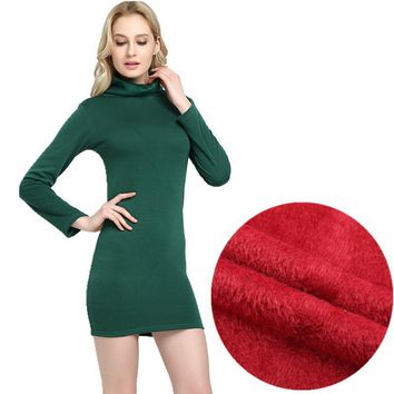 WKOUD 2017 Winter Dress Fleeces Thickening Hot Warm Dresses For Women Turtleneck Solid Dress Feminino Casual Mini Vestidos L8283