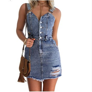 Women Sexy Vintage Denim Dress