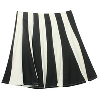 ROMWE | Contrasting Vertical Stripe Black Skirt, The Latest Street Fashion