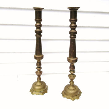 Vintage Tall Brass Candleholders / Oversized Candlesticks / Alter Candle Holders, Hollywood Regency 23 inch Candle Holders, Fireplace Decor
