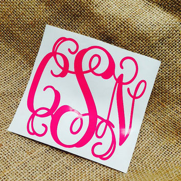 Car decal monogram decal monogram vinyl vinyl decal monogram gift monogram sticker car sticker car initials