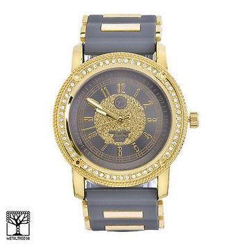 Jewelry Kay style Iced Out Gold Plated Silicone Band Men's Women's Techno Pave Watches 8153 GGR