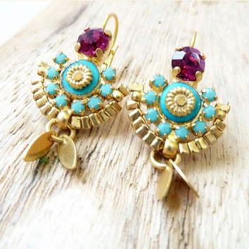 SALE MAHARAJA small chandelier earrings, turqouise and fuchsia color, 24k gold plate, statement jewelry.