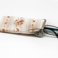Floral  Shabby Chic Eyeglasses Case - Reading glasses Case - Yellow Mint and pink cotton fabric - Kiss Lock Silver Frame - OOAK
