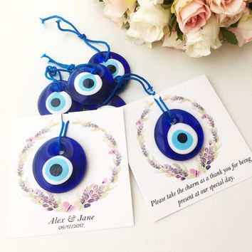 Blue evil eye beads, nazar boncuk with personalized card, personalized wedding gifts, greek evil eye