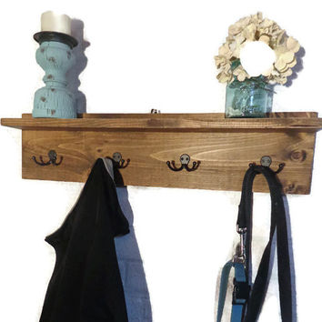 Simply Home Rustic Shelf with Double Hooks