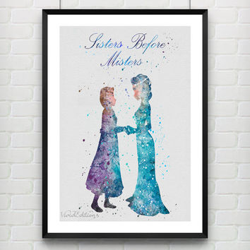 Elsa and Anna Disney Frozen Watercolor Print, Princess Room Watercolor Poster, Minimalist Home Decor Not Framed, Buy 2 Get 1 Free! [No. 100]