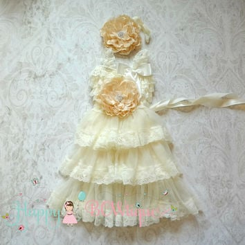 Rustic Flower girls dress / Girl Ivory Champagne Flower dress sets