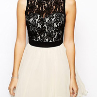 Black and White Sheer Lace Pleated Dress