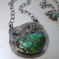 SaLE!! - In the Weeds Firefly Pendant with Natural Turquoise Cabochons and Oxidized  Sterling Silver - Adjustable up to 21 inches - OOAK