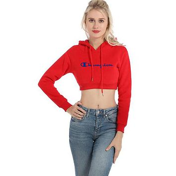 Champion Autumn Fashionable Women Casual Print Crop Long Sleeve Hoodie Velvet Sweater Top Sweatshirt Red