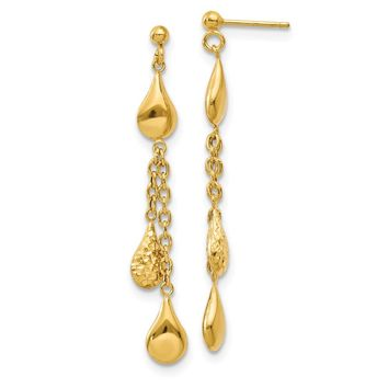 14k Yellow Gold D.C Tear Drop Dangle Earrings
