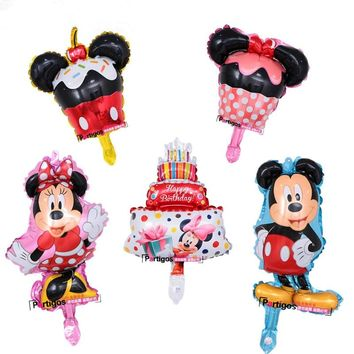 10pcs/lot Mini Mickey Minnie Mouse foil balloons cake globos happy birthday party decorations kids gifts for party supplies
