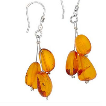 Triple Bead Earrings - Baltic Amber