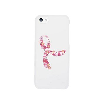 Pink Floral Ribbon White Phone Case