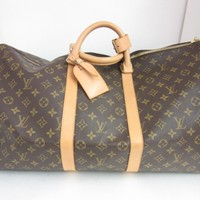 Louis Vuitton Monogram Keepall 55 Bandouliere Tote Bag Handbag Brown