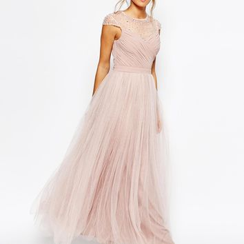 Little Mistress Ruched Bodice Maxi Dress With Pleated Tulle Skirt