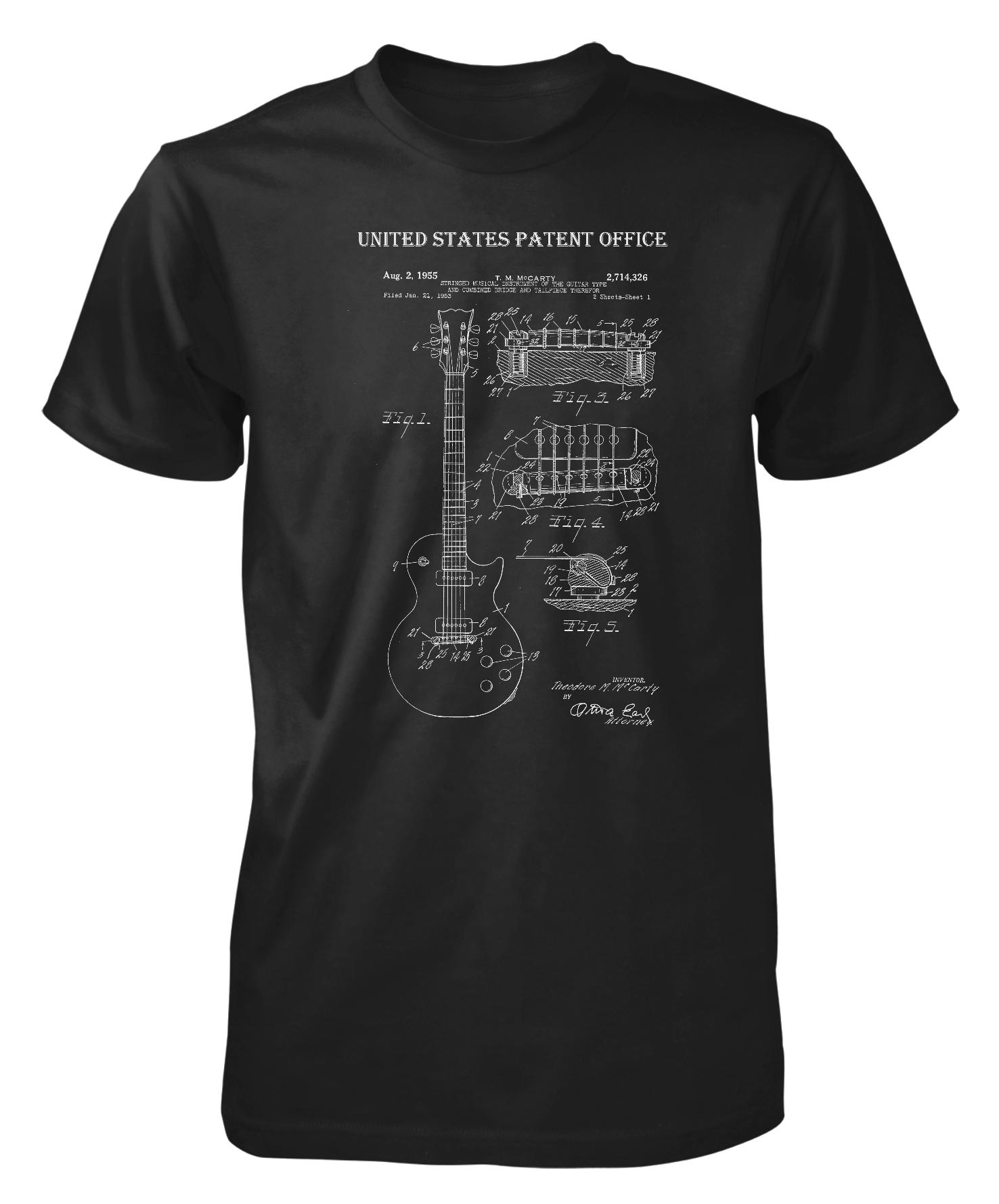 Gibson patent guitar male t shirt from me by me gift ideas for How to patent a t shirt