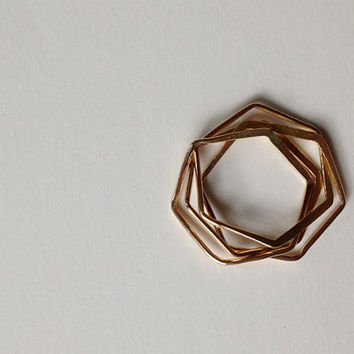 Hexagon nest ring.  In gold.  Handmade geometric puzzle ring
