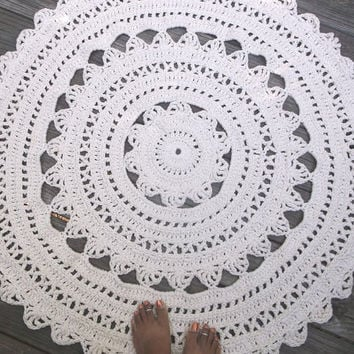 White Cotton Crochet Rug in Large 41in Circle Pattern Non Skid READY TO SHIP