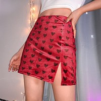 Red Heart Print High Waist Skirt