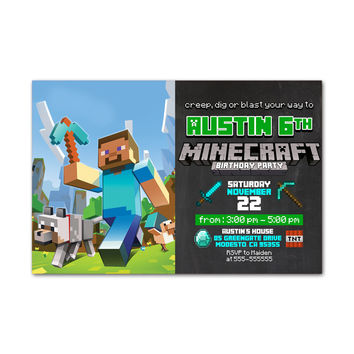 Minecraft Wolf Kids Birthday Invitation Party Design