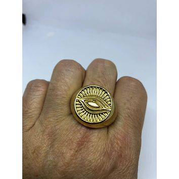 Vintage Gothic Gilded Gold Stainless Steel Illuminati Eye Mens Ring