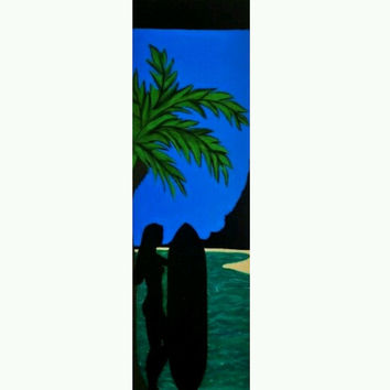 Girl With Surf Board Painting, Beach Art, Ocean Decor, Palm Tree Art, Wood Wall Art, Silhouette Painting, Surfboard art, Beach Bathroom