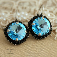 Blue Aqua and black Swarovski leverback earrings gift for woman - oxidized silver earrings real swarovski rhinestone.