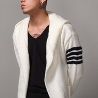 Mens TB Knitting Extended Overlong Cozy Hooded Cardigan at Fabrixquare