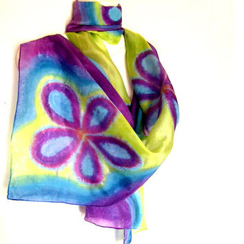 Silk Scarf Hand Painted Floral Multicolor Bright Purple Lime Turquoise