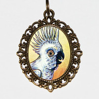 Cockatoo Necklace, Parrot, Bird Jewelry, Animal, Oval Pendant