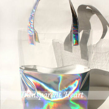 Holographic / Transparent Bag PU Leather Tote Handbag Shoulder bag Messenger Bag Briefcase Satchel for Women lady gift tote