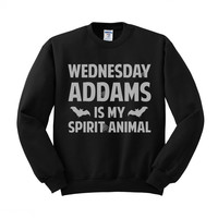 Wednesday Addams is My Spirit Animal (White) Crewneck Sweatshirt